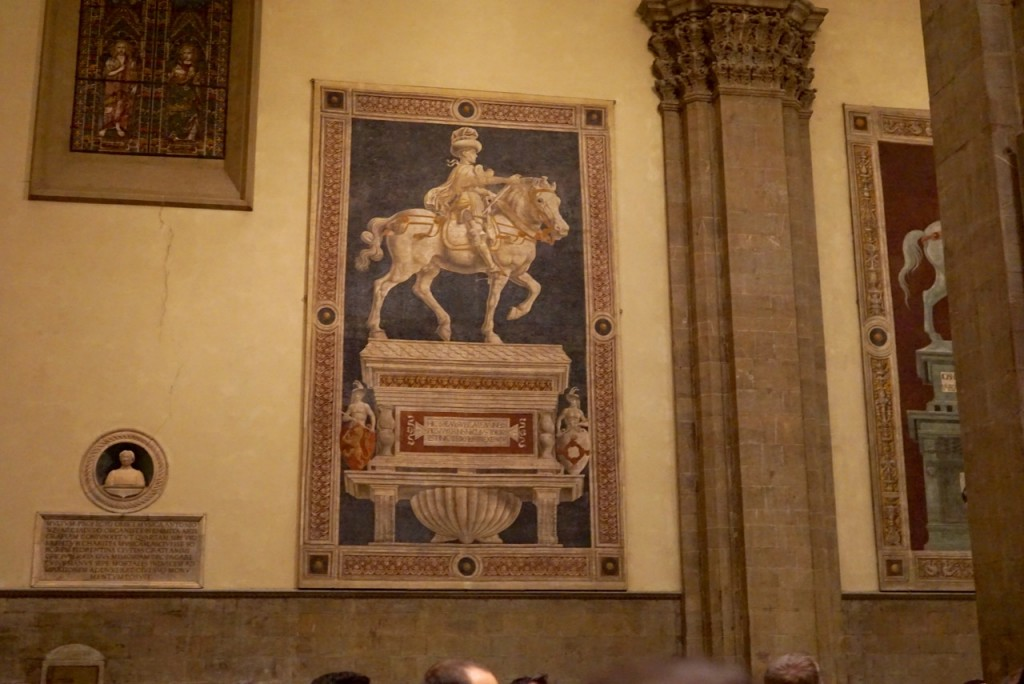 Detalhes dentro do Duomo: Andrea del Castagno, Monumento a Niccolò da Tolentino 1456