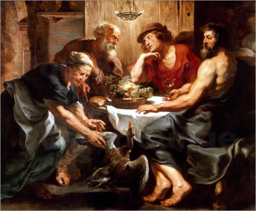 Nesta tela de Peter Paul Rubens (1577-1640), o humilde casal de anfitriões Filemon e Baucis, que disponibilizaram o melhor que tinham em casa mesmo sem fazer ideia de que estavam recebendo Zeus e Hermes. A dádiva concedida ao casal, por tamanha benevolência e generosidade, foi a de viverem o máximo de tempo possível e de morrem juntos, como queriam. Foram transformados em árvores que se entrelaçam