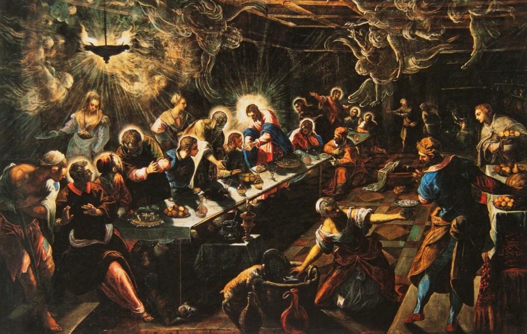 """""""A Última Ceia"""", Tintoretto (1592-94). San Giorgio Maggiore, Veneza."""