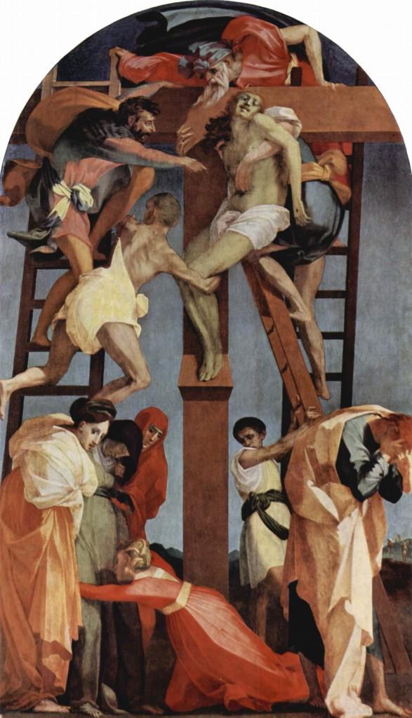 """""""A descida da Cruz"""", Rosso Fiorentino (1521). Pinacoteca de Volterra, Itália."""