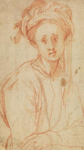 """""""Estudo de uma jovem"""", Pontormo (1526). Galleria degli Uffizi, Firenze. Sensível, seus desenhos refletem bem essa faceta de sua personalidade. Em """"Estudo de uma jovem"""" vemos que a moça contempla o espaço com certa tristeza. Esse olhar parece estar a observar com certa distância, como se estivesse constatando algo. Já enxergamos o subjetivismo na obra."""
