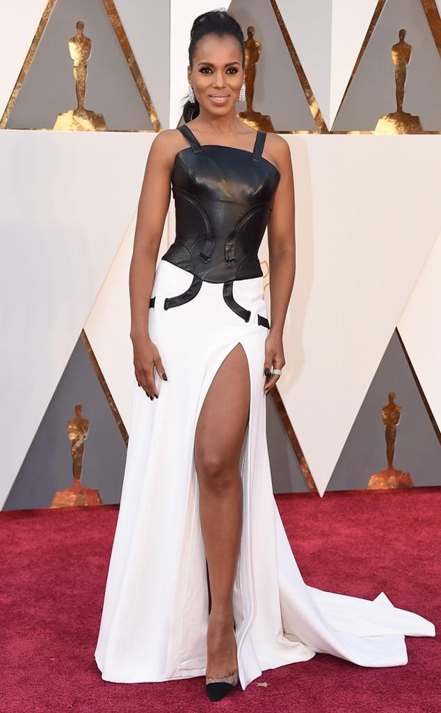 """Uma das características do Oscar é que ele é meio careta. Se você é a Cher ou a Bjork, tem mais que chocar, mas a Kerry Washington, ainda neste momento de controvérsia quanto ao preconceito da Academy, tinha que estar mais """"correta"""" do que essa roupa da Versace que insinua a forma completa do peito."""