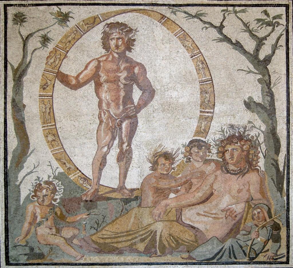 Aion e Urano entre o zodíaco. Mosaico romano do séc. III a.C. que está na Gliptoteca (Glyptothek) de Munique, na Alemanha.