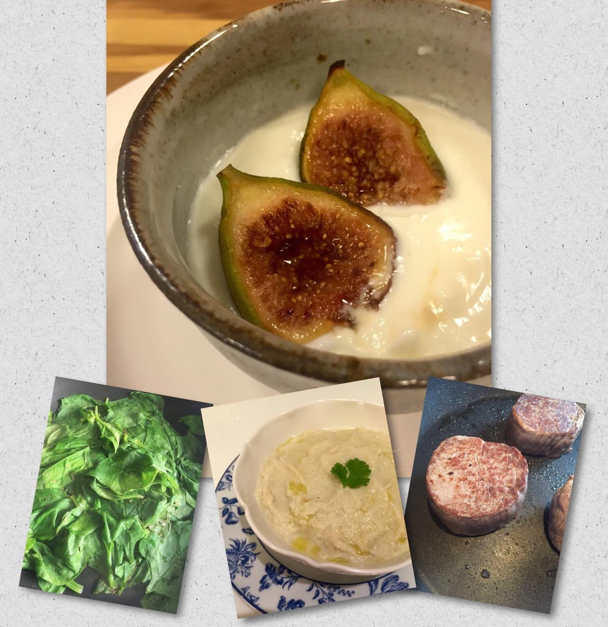 Receitas light pela nossa chef do Salotto Luciana de Oliveira: medalhões de filet mignon, puré de couve flor, salada de espinafre fresca e figos grelhados!