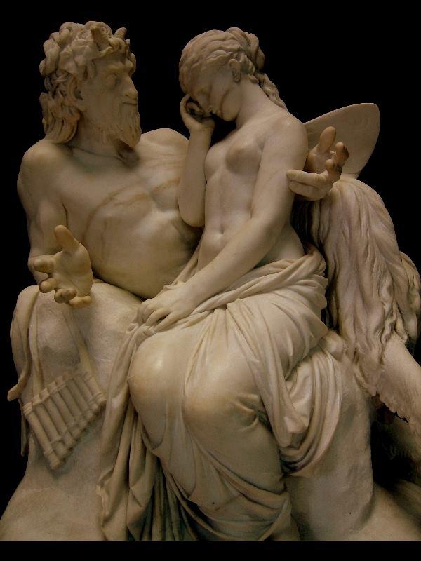 Pã consola Psyché (a Alma). Escultura de Reinhold Begas (1858), Museu Nacional de Berlim.