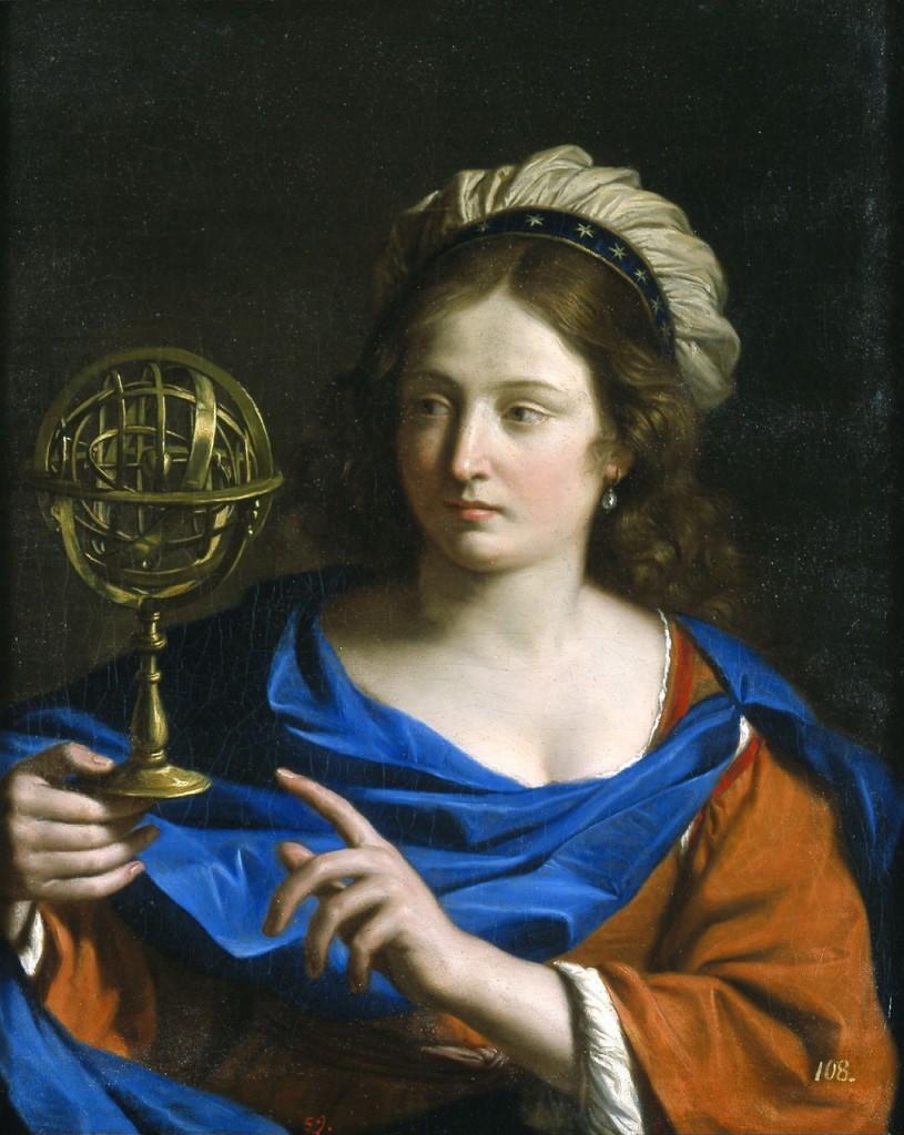 """""""Personificação da Astrologia"""", por Guercino (1650-55). Blanton Museu de Arte, Texas. Segundo a Wiki, Giovanni Francesco Barbieri, é mais conhecido como Guercino ou Il Guercino (Cento, 1591 — Bolonha, 1666), palavra italiana para """"estrábico"""", apelido que lhe foi dado por conta de seu desvio ocular."""