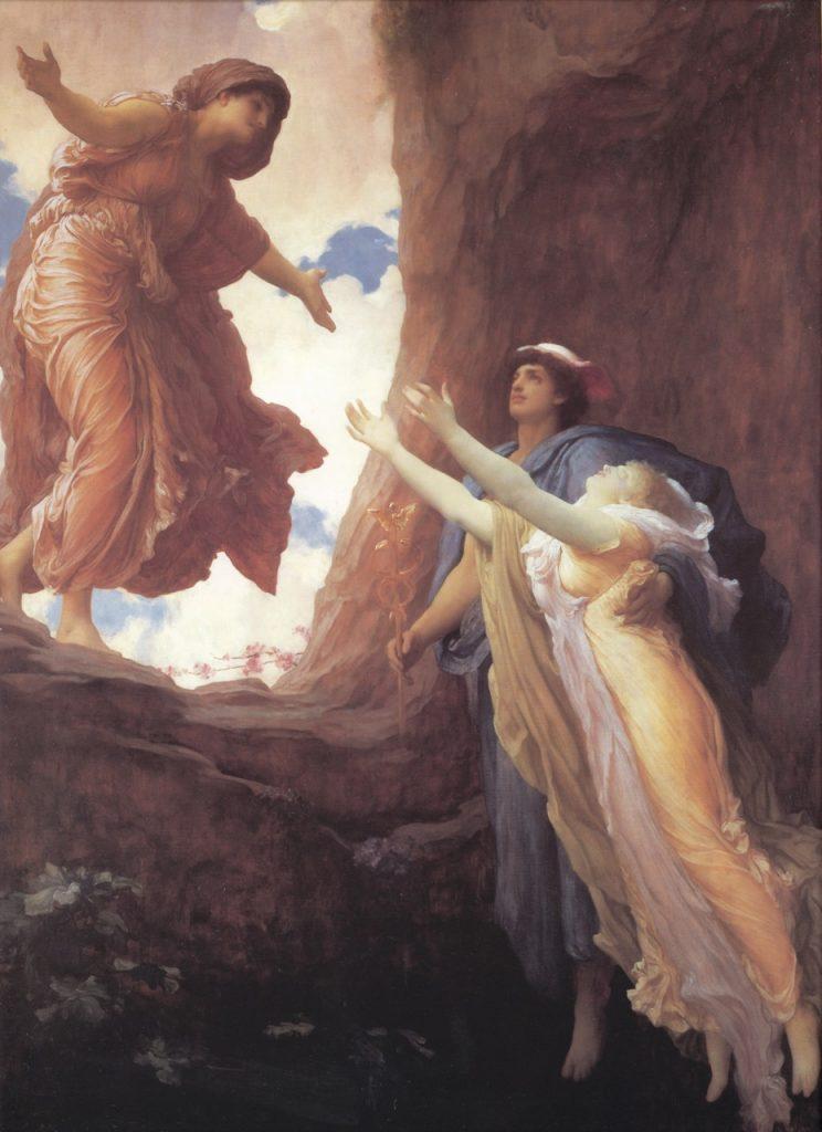 Retorno de Perséfone (1891), por Frederick Leighton (1830-1896). Museu e Galeria de Leeds, Reino Unido. Trazida por Hermes (Mercúrio), Perséfone retorna do Hades para os braços de sua mãe, Deméter. Somente à mente é permitido o ingresso no Reino de Hades.