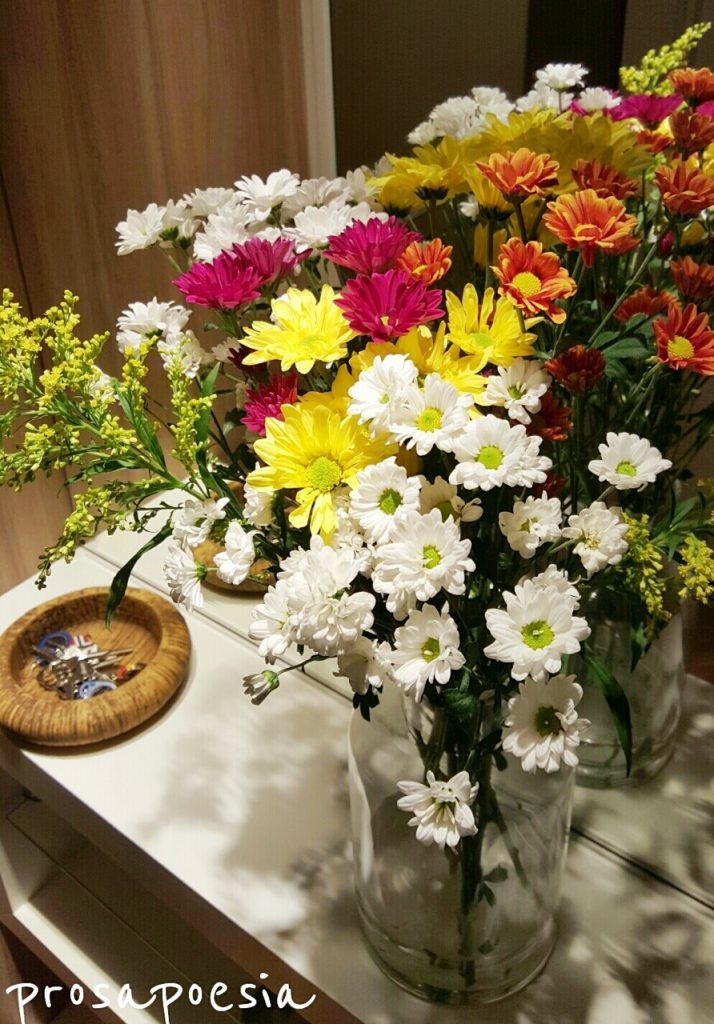 Uma foto do Hall da minha casa, do jeitinho que gosto: florido!