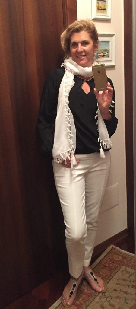 Calça Blue Les copains .. Blusa Cristina Effe Milano Sandália Taboa do Brasil em Porto de Galinhas